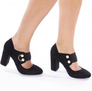 Pantofi cu toc gros din velur Carmela negru