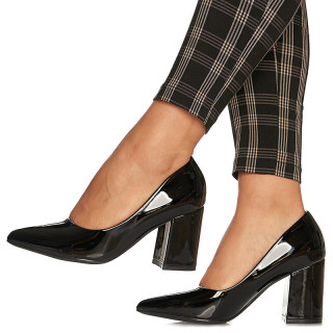 Pantofi cu toc gros mediu din lac Camilia negru