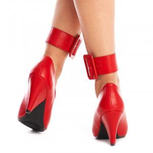 Pantofi cu toc gros si curea pe glezna inclusa Amalia rosu