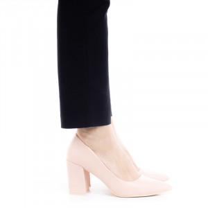 Pantofi dama office cu toc mediu gros Argentina bej