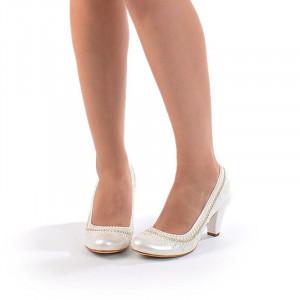 Pantofi de mireasa cu toc mic Bianca