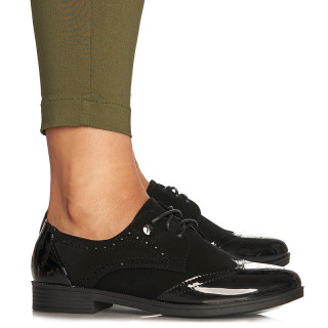 Pantofi office cu siret din velur cu lac oxford Mada negru