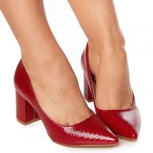 Pantofi office cu toc mediu gros lucios Aglaia