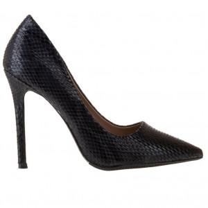 Pantofi stiletto cu toc inalt snake Antonia blk