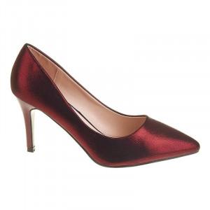 Pantofi stiletto cu toc mediu din material deosebit Amira rosu