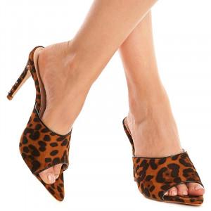 Saboti cu toc leopard Amalia