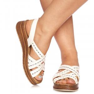 Sandale cu talpa joasa Grazia alb