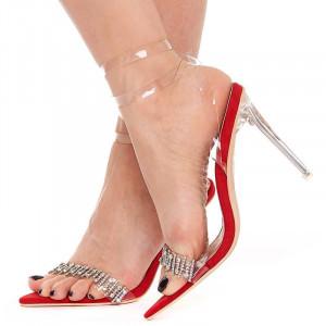 Sandale cu toc elegante din velur cu bareta transparenta Salma rosso