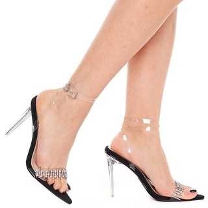 Sandale cu toc elegante din velur cu bareta transparenta Salma