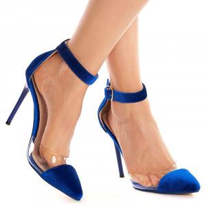 Sandale cu toc inalt din velur Sofia albastru