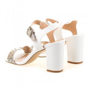 Sandale office cu toc Amalia alb