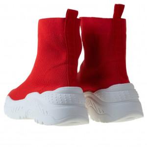 Sneaker trendy din textil elastic Andra red