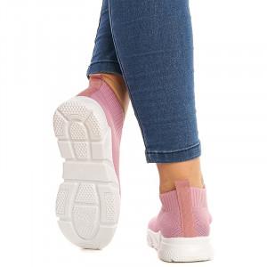 Sneakers dama din material elastic Sandra roz