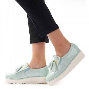 Sneakers din lac cu talpa inalta Melania verde