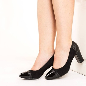 Pantofi office cu toc gros Natalia negru