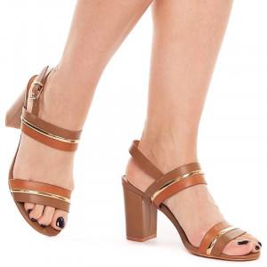 Sandale cu toc gros elegante Samantha beige