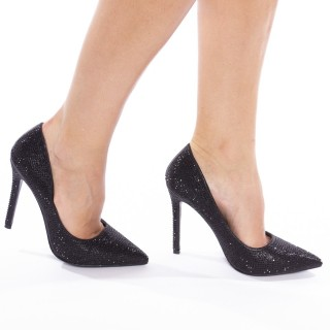 Pantofi stiletto cu toc inalt glitter Celia