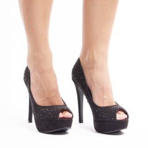 Pantofi cu toc inalt si platforma din velur Aniela negru