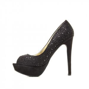Pantofi cu toc inalt si platforma din velur Branca negru
