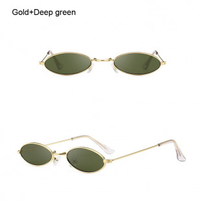 Ochelari de soare retro oval Giulietta auriu cu lentila verde