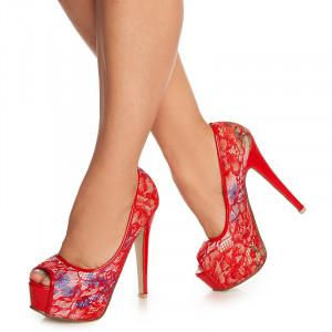 Pantofi cu platforma si toc inalt Azumi rosu