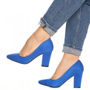 Pantofi cu toc gros din velur Camilia albastru