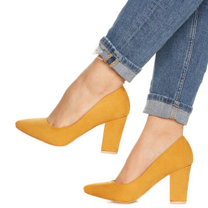Pantofi cu toc gros din velur Camilia galben