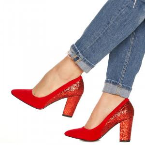 Pantofi cu toc gros din velur si paiete pe toc Salma rosu