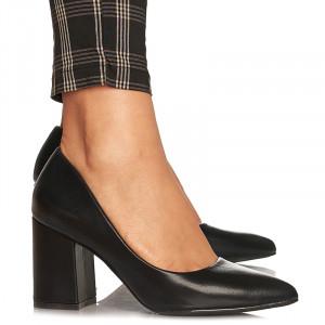 Pantofi cu toc gros mediu Camilia negru