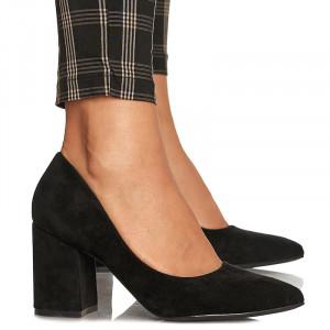 Pantofi cu toc gros mediu din velur Camilia negru