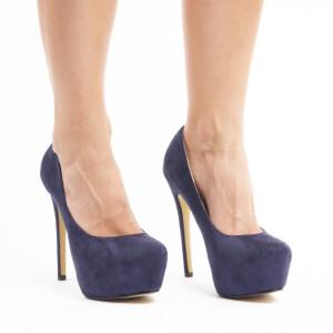 Pantofi cu toc inalt si platforma din velur Lucia blu