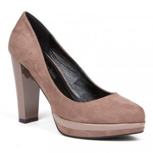 Pantofi dama, cu toc gros si platforma, Taupe