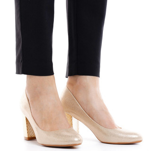 Pantofi dama cu toc mediu din material deosebit Catarina bej auriu
