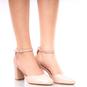 Pantofi dama decupati cu toc mediu gros Giulia nude cu bej