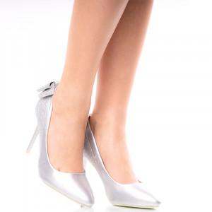 Pantofi dama stiletto cu toc Inalt Julia argintiu