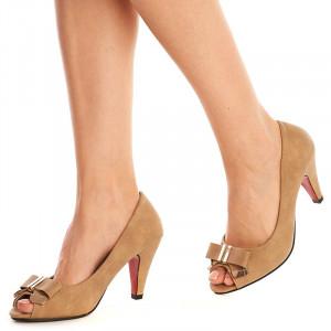 Pantofi eleganti cu toc mediu Amalia bej