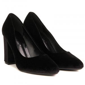 Pantofi office cu toc mediu gros din velur Paris negru