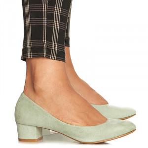 Pantofi office cu toc mic din velur Alma verde