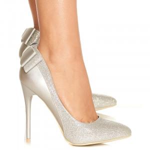 Pantofi stiletto cu toc inalt din material deosebit lucios Magda