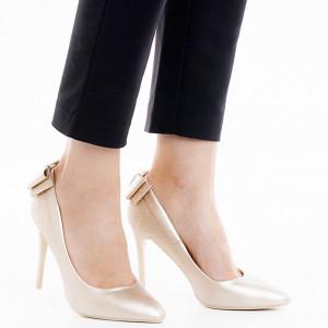 Pantofi stiletto cu toc inalt din velur cu material deosebit lucios Adeline argintiu