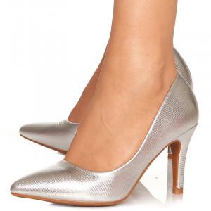 Pantofi stiletto cu toc mediu din material special Antonia argintiu