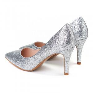Pantofi stiletto cu toc mic din material deosebit Camelia