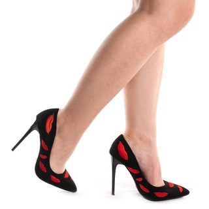 Pantofi stiletto din velur Amalia lips rosu