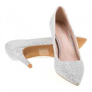 Pantofi stiletto eleganti cu toc mediu Marta argintiu