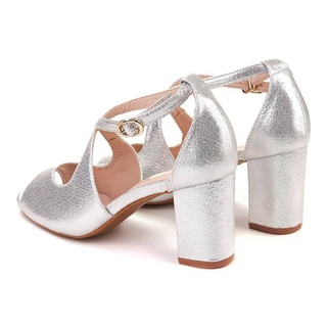Sandale chic cu toc mic Layla arginto