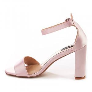 Sandale cu toc chic din satin Carla