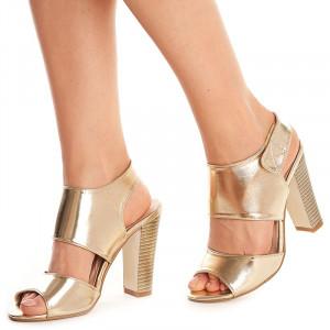 Sandale cu toc gros Theresa auriu