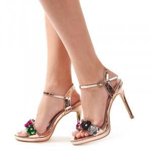 Sandale cu toc si flori elegante Amalia bronze