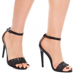 Sandale dama cu toc inalt elegante Olivia negru