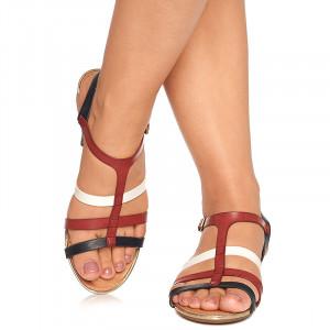 Sandale Piele Talpa Joasa Benita Rosu cu Alb